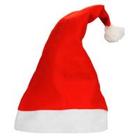 decoraciones para fiestas de adultos al por mayor-Sombreros de Santa Claus navideños Gorra Roja y Blanca Sombreros de Fiesta Para Traje de Papá Noel Decoración de Navidad para niños adultos Sombrero de Navidad