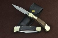 Wholesale Buck Lock Blade Knife - Buck 110 classic folding knife (side jump version) double copper head + ebony   red sticky handle, back lock + spring lock