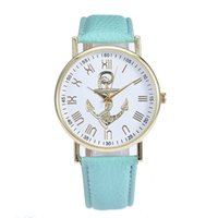 Wholesale anchor manufacturers - Geneva imitation leather watch Popular contracted dial watch anchor pattern spot wholesale watches lady watches manufacturer