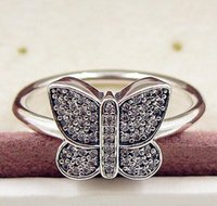 Wholesale 925 butterfly rings resale online - Hot Fashion Sterling Silver Butterfly Ring with Clear CZ European Pandora Jewelry Charm Ring