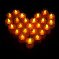 bougies électroniques télécommandées achat en gros de-Nouveau Design 24pcs / Set Électronique Sans Flamme Bougie Télécommande Scintillement Led Bougies De Mariage De Noël Tealight Eglise Bougies