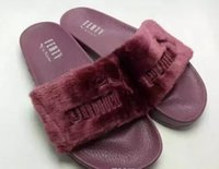 Wholesale Faux Heels - Hot Rihanna Leadcat Fenty Faux Fur Slide Sandal,Women Classical Fenty Slippers Black Slide Sandals Fenty Slides Red Yellow Purple Blue