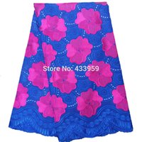 Wholesale Embroidered Cotton Voile Fabric - PS81 New Arrival high quality Blue And Fushia Pink African cord lace fabrics Swiss voile Embroidered Guipure Fabric With Stones