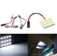 Wholesale 12 Compartment Wholesale - 200SET LOT Pure White 12 5050 SMD LED Car Light Panel T10 Dome Bulb BA9S Adapter DC 12V Free Shipping
