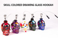 Wholesale Colored Plastic Glasses - 2016 New sharpstone skull colored drawing glass smoking pipe or glass smoking hookah with plastic pipe smoking pipe