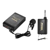 transmisor amplificador al por mayor-Lavalier Solapel Collar Clip-on Sistema de micrófono inalámbrico FM Amplificador de voz 1 / 4in Enchufe de salida con receptor transmisor Bodypack