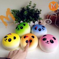 jumbo panda bun squishy venda por atacado-Atacado-Novo Jumbo Candy Colors Panda Bun Squishy Charme Slow Rising
