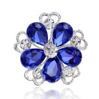 Wholesale Vintage Red Rhinestone Heart Pin - White Green Red Blue Crystal Flower Brooches for Women Vintage Wedding Accessories Fashion Collar Brooch Lapel Pin Rhinestone Brooch