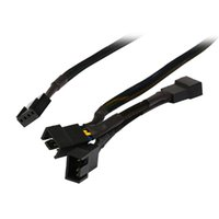 Wholesale Case Fan Cable - Wholesale- Black Net Jacket Sleeved 16 inch(8+4+4) 1 to 3 4-pins Molex CPU Case 4 Pin PWM Cooling Fan Splitter Hub Power Adapter Cable Cord