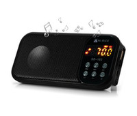 Wholesale Digital Clock Radios - Hi-Rice SD-102 FM Radio USB TF Card MP3 Clock LED Digital Media Speaker