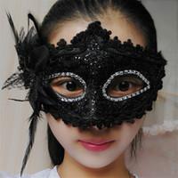 yetişkinler için siyah yarı maskeler toptan satış-Kukucos Cadılar Bayramı Yetişkin Topu Prenses Maskesi Kadın Dantel Parti Cosism Yarım Yüz Cosplay Maske Siyah Çocuk Evrensel