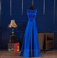 Wholesale Silk Chiffon Floor Length Bridesmaid - vestido de noiva 2016 new lace A-Line Floor-Length royal blue burgundy gold real photo cheap wedding dresses