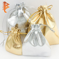 Wholesale Organza Bags 5x7cm - BELAWANG 2colors 3 Sizes 50pcs Gold Or Silver Foil Organza Wedding Favor Gift Bag Pouch Jewelry Package 5x7cm   7x9cm   9x12 Free Shipping