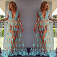 Wholesale Translucent Chiffon Dress - Wholesale- Sexy Women Chiffon Dress Summer Long Sleeve Floral Translucent Dress Sexy Blue Beach Dress BOHO Sundress