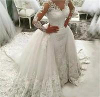 brautüberlauf tüll großhandel-Moderne Dubai lange Ärmel schiere Gericht Zug Brautkleider mit abnehmbaren Tüll Überrock Luxus Applique Lace Meerjungfrau Brautkleider