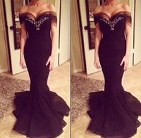 Wholesale Little Mermaid Ball Gown - Elegant Backless Evening Dresses Ball Gown Plus Size Lace Appliques Sexy Prom Dress Long Satin Formal Black Gowns 2017