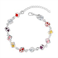 Wholesale Silver Rolo Bracelet Chain - Chain Bracelets & bangles fashion jewelry Silver bracelet with box women bangle jewelrys Checkered Stone Rolo wholesale BR-82