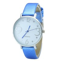 Wholesale Women Watches Big Dials - Simple fashion leather wrist watches Silver dial big digital quartz watch Students women gift watches wholesale