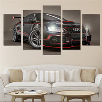 5 Panels Audi Sports Car Modern Abstract Canvas Oil Painting Print Wall Art  Decor For Living Room Home Decoration Framed Unframed01