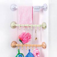 Wholesale Towel Holder Bathroom Single Bar - Plastic Suction Cup Towel Bar with Hooks Bathroom Holder Towel Rack Storage Organizer Bathroom Toilet Towel Racks JI0175