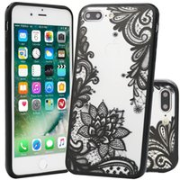 Wholesale Tpu Flower Rose - Sexy Lace Flower Pattern Hard PC+TPU Cases Back Cover Capa for Iphone 5 6 6plus 7 7plus 8 8plus x