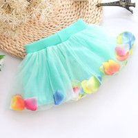 Wholesale Wholesale 12 Petal Skirt - New Han edition skirts short skirt of the girls The us net petals bright pearl bowknot baby cake skirt free shipping