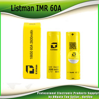 Wholesale Rechargeable Ecig Battery - Authentic Listman IMR 18650 2600mAh 60A 3.7V battery High Drain Rechargeable Battery 100% genuine Fedex Free Shipping fit ecig mods 2221002