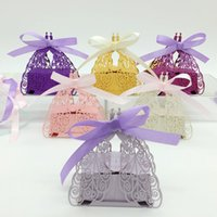 Wholesale Decorative Boxes For Gifts - 100pcs Laser Cut Hollow Peacock Candy Box Chocolates Boxes With Ribbon For Wedding Party Baby Shower Favor Gift