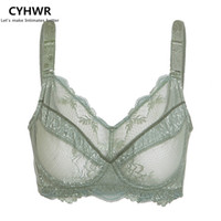 Wholesale g cup bras - Wholesale-CYHWR Women's Full Coverage Jacquard Non Padded Lace Sheer Underwire Plus Size Bra 34-48 B C D E F G H