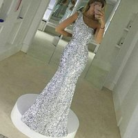 Silver Sequined Robes de soirée Une épaule Floor Length Mermaid Prom Dress Simple Shining Special Occasion Dress
