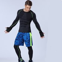 Wholesale Nylon Long Johns - Wholesale-1set=tops + pants+shorts   Compression Men's Quick-drying breathable Sports Long Johns Suit Fitness T-shirts Body Shapers