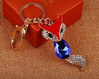 Wholesale Korean Couples Keychains - Valentine's Day Birthday Christmas Wedding Gifts Korean Fashion Jewelry Crystal Fox Lover Couples Keychains Bag Mobile Pendants Keychain