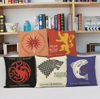 coussins de trônes de jeu achat en gros de-45X45cm Game of Thrones Throw Couvre Maison Coussins Imprimés Voiture 10 Modèles Maison Canapé Voiture Décorations Une Chanson De Glace Taie D'oreiller Feu