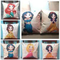 Wholesale Princess Car Seat Covers - Liene Mermaid Ariel Cushion Covers Cartoon Princess Girls Style Pillow Case Cute Cushion Cover Chair Seat Cushion Covers For Sofa And Cars