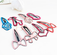 Wholesale Hairclip Hairpin - Wholesale New 30pcs lot Korean Design Fashion Big Cute Leather Cartoon Baby Girls Hairclip Cartoon Animals Girls Hairpin BB Girls Headware