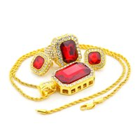 Männer Hip Hop Schmuck Set Iced out 18K Gold Plated Square Red Rubin Ringe Ohrstecker Anhänger Halskette Set