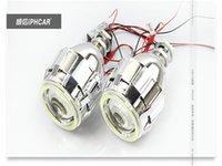 "Wholesale Devil Hid - Newest 2.8"" CCFL Angel Eye Lights Hid Xenon Lamp H4 H1 H7 Retrofit Headlight Bifocal Lossless Angel Devil Eyes Projector"