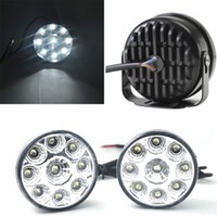Barato Drl Nevoeiro Rodada-Um set track 9-LED Round Daytime Driving Running Light DRL Fog Fog Lamp Super White DIY