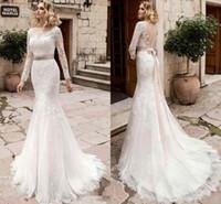 Wholesale Dresses Civil Wedding - Vintage Vestido De Noiva Bridal Gown Rustic Long Sleeve Mermaid Wedding Dress Women Civil Sexy Lace Applique Backless Wedding Dresses 2017