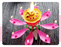 Wholesale Wax Flowers Wedding - Lotus New Music Candle Birthday Party Wedding Lotus Sparkling Flower Candles Light Event Festive Supply wen4562