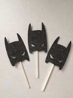 Wholesale Batman Cake Toppers - batman Silhouette Cupcake Toppers sports event Party Picks baby shower wedding birthday toothpicks decor