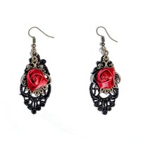 Wholesale Wholesale Antique Lace - Vintage Rose Charm Dangle Earrings Trendy Black Lace Charm Earrings Antique Bronze Eardrop Personality Earrings For Women