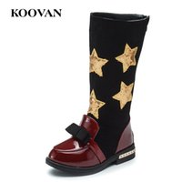Wholesale Kids Wedges Shoes - Mid Boots Kids Star Knight Boots Snow Boots 2017 Koovan Autumn Winter Fashion 1-5 Year Old Boy Girl Shoes Free Ship K159