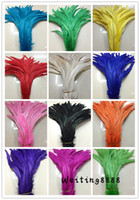 Wholesale Yellow Rooster Feathers - Adornment more occasions High quality 100pcs beautiful dyeing rooster tail feathers 35-40cm  14-16inches more color choices recommended