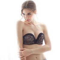 Wholesale Lace Strapless Gathered - Women's Sexy Fashion Slip Strapless Stealth Wireless Gather Underwear