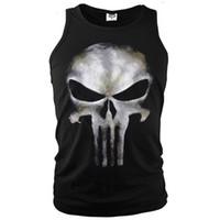 Wholesale Sleeveless Skull Vest - Anti-hero The Punisher Sleeveless T-Shirt Men's Costume Tank Tops Tees Sports Ghost Shirt Skull Printed Vest