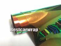Wholesale Rainbow Rolls - 2017 Rainbow Chrome Vinyl CAR Wrap With Air bubble Free Mirror Chrome flip flop For Car styling size:1.45x20m Roll 4.7x66ft