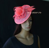 Wholesale Coral Wedding Hats - NEW Coral pink Sinamay fascinator hat with feathers for Ascot Races,Wedding,Party,Kentucky Derby,Melbourne Cup.
