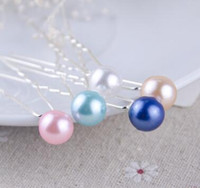 Wholesale Mix Colour Hair - 10000pcs mix colour 8mm Pearl Hair Pin For Wedding Fashion Alloy Hair Clips Lady Hair Jewelry Hairpin