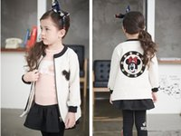 Wholesale Girls White Jackets Coats - New Autumn Winter Baby Girl Clothes Cute Mickey Print White Baseball Jackets Kids Infant Clothing Outwear Coat Costume D113